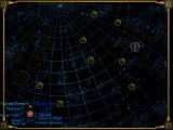 The level selection map. A set of levels relate to each of those planet-like circles.